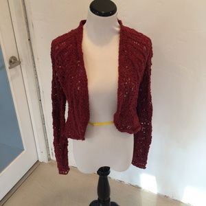 ANGEL OF THE NORTH RED CARDIGAN CROCHET SIZE M